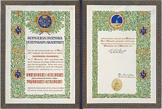 Nobel Prize in Physics - 1903 Nobel Prize diploma, awarded to Marie Curie and Pierre Curie