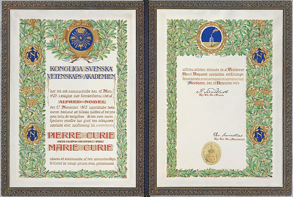 1903 Nobel Prize diploma, awarded to Marie Curie and Pierre Curie Nobel Pierre et Marie Curie 1.jpg