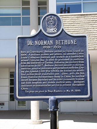 Owen Sound Collegiate and Vocational Institute - A memorial plaque to Norman Bethune, installed at the school in 1980