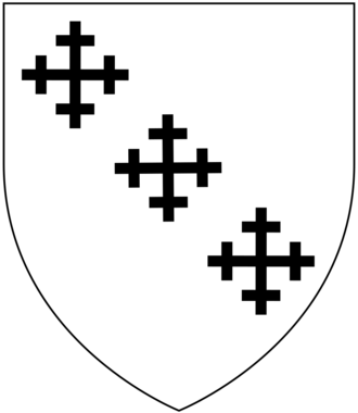 Sir Henry Northcote, 5th Baronet - Arms of Northcote: Argent, three cross crosslets in bend sable