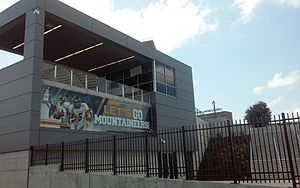 Mountaineer Field at Milan Puskar Stadium - Northeast gate with new ADA accessible elevator and covered areas.