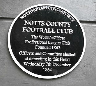 Notts County F.C. - Plaque at the George Hotel Nottingham commemorating Notts County Football Club first meeting to elect Officers and Committee on 7 December 1864