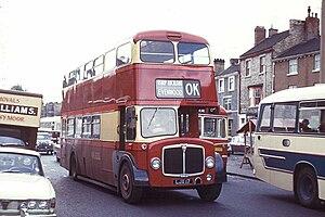 OK Motor Services - AEC Regent V in Bishop Auckland in 1974
