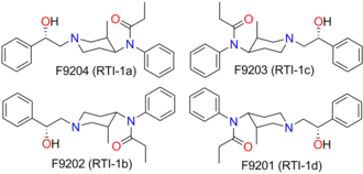 Ohmefentanyl - Molecular structure of four ohmefentanyl isomers