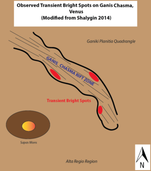Ganis Chasma - Locations of observed transient bright spots on Ganis Chasma, Venus. Modified from Shalygin (2014)