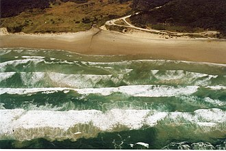 Ocean Beach (Tasmania) - Ocean Beach showing Ocean Beach Road: the main access road from Strahan.
