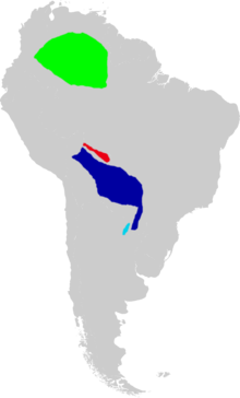 Map of South America marked  green in southeastern Colombia, southern Venezuela, and northwestern  Brazil; red in a narrow strip in northeastern Bolivia; dark blue in much  of eastern Bolivia, much of Paraguay, and nearby Brazil; and light blue  in a small area in northeastern Argentina.