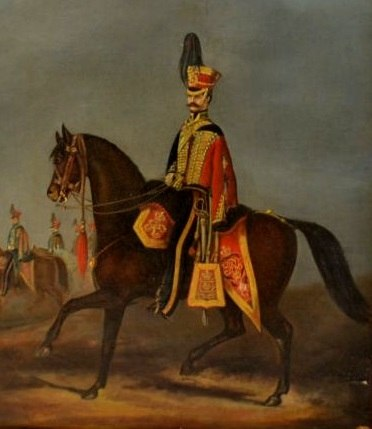 Officer of the 15th King%27s Hussars mounted on his Charger