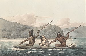 Ohlone - Ohlone in a tule boat in the San Francisco Bay, painted by Louis Choris, 1816
