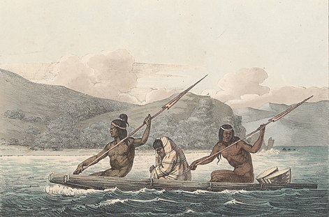 Ohlone Indians in a Tule Boat in the San Francisco Bay 1822