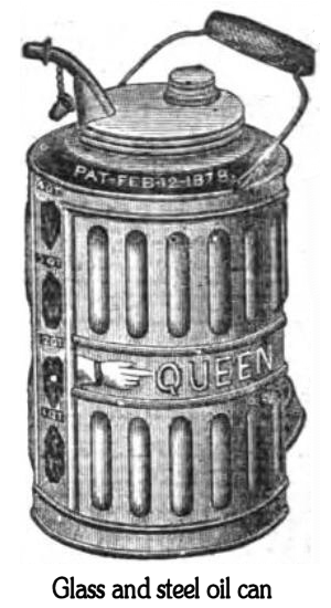Oil can - Oil can used to store household lamp oil (1882). Windows in the tin allow to observe the level. Cap for the spout on a chain.