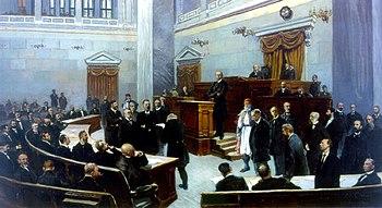 Η Βουλή των Ελλήνων, που συγκαλεί ως πρωθυπουργός ο Χαρίλαος Τρικούπης και δίνει μια ομιλία, κατά τη διάρκεια του πρόσφατου δέκατου ένατου αιώνα.