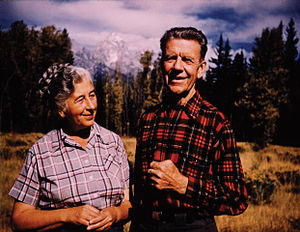 Olaus Murie - Mardy Murie and Olaus at their home, Grand Tetons, 1953