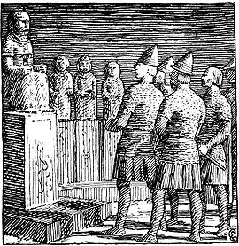 Olaf in the temple of Thor (Illustration by Halfan Egedius).
