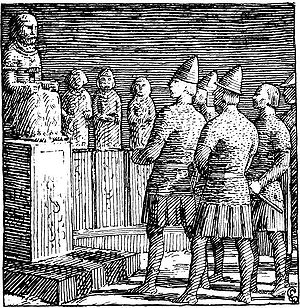"Þorgerðr Hölgabrúðr and Irpa - ""King Olaf in Thor's hof"" (1897), illustration from Óláfs saga Tryggvasonar by Halfdan Egedius."