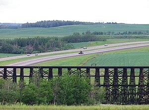 Alberta Highway 43 - The Rochfort Bridge is one of North America's longest wooden railroad bridges.  It crosses Highway 43 near the hamlet of the same name.