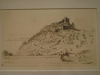 Èze - An old engraving of Èze