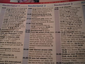 TV listings - A page from a Dutch TV guide.