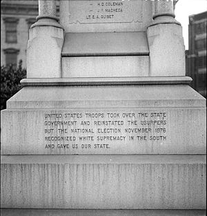 "White supremacy - From the Battle of Liberty Place monument in Louisiana. An inscription added in 1932 states that the 1876 US Presidential Election ""recognized white supremacy in the South and gave us our state."""