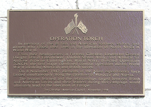 A plaque commemorating Operation Torch at the American War Memorial in Gibraltar. Operation Torch plaque persp.png
