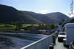 View of the ferry quay at Ytre Oppedal seen from the ferry MF Svanøy on the Lavik-Oppedal route