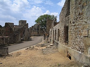 French Resistance - The ruins of Oradour-sur-Glane, in the Limousin region of the Massif Central