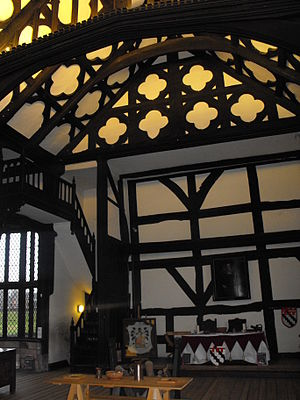Ordsall Hall - The Great Hall. The corridor to the left of the staircase leads to the Star Chamber.