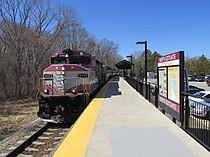 Outbound train entering North Scituate MBTA station, North Scituate MA.jpg