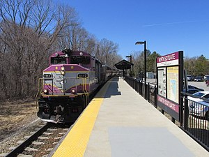 North Scituate, Massachusetts - An MBTA Commuter Rail train at North Scituate station, which opened in 2007