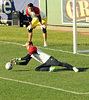 Brad Jones (footballer) - Brad Jones watches Péter Gulácsi save a penalty in training in 2012.