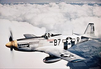 North American P-51 Mustang - P-51D of 374th Fighter Squadron, with underwing drop tanks.