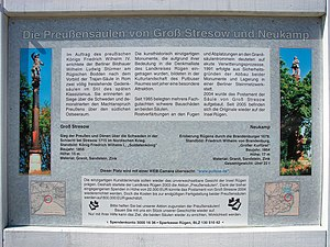 Prussia Columns - Information board on the site of the original pieces of the Prussia Columns in Alleestraße in Putbus