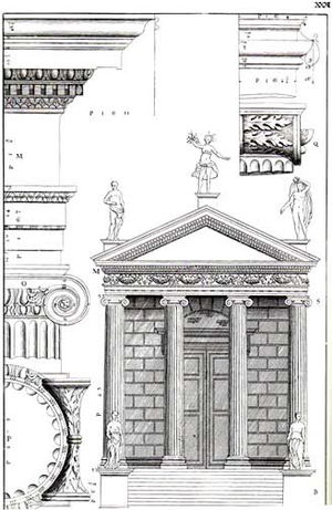 "Temple of Portunus - ""The Temple of Fortuna Virilis"" in Isaac Ware, The Four Books of Andrea Palladio's Architecture, London, 1738."