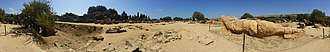 Temple of Olympian Zeus, Agrigento - Panorama Remains of one reconstructed atlas in the Olympieion field