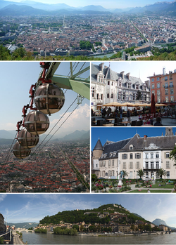 From upper left:  Panorama of the city, Grenoble's cable cars, place Saint-André, jardin de ville, banks of the Isère