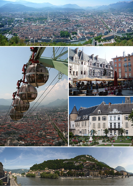 From upper left: Panorama of the city,Grenoble's cable cars, place Saint-André, jardin de ville, banks of the Isère
