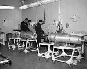 Pantex Plant - Technicians perform final assembly on a nuclear warhead, circa 1985
