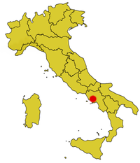 Mapo montranta la lokon de Parco Nazionale del Vesuvio