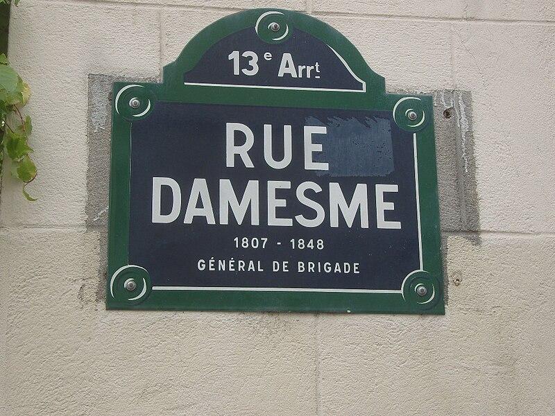 Fichier:Paris 13e - rue Damesme - plaque.JPG
