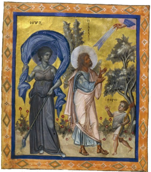 Nyx - Nyx, as represented in the 10th-century Paris Psalter at the side of the Prophet Isaiah