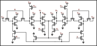 Phase detector - An example CMOS digital phase frequency detector. Inputs are R and V while the outputs Up and Dn feed to a charge pump.