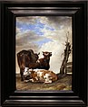 Paulus potter, due mucche e un giovane toro vicino a una staccionata in una pianura, 1647.jpg