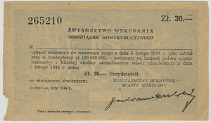 Operation Kutschera - Payment receipt for a 30 Zloty reparation/repercussion payment due from all residents of Warsaw and surrounding areas as retribution for the Polish underground's Operation Kutschera - the successful execution of Franz Kutschera, SS General and SS and Police Leader, Warsaw district