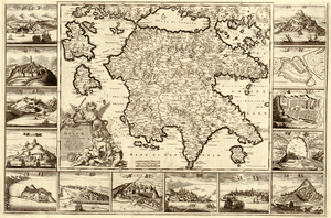 Kingdom of the Morea - Peloponnesus, Presently the Kingdom of the Morea, by Frederik de Wit, 1688
