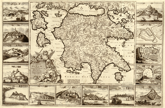 Kingdom of the Morea - Peloponnesus, Presently the Kingdom of the Morea, by Frederik de Wit, 1688