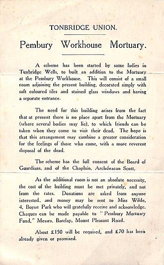Amelia Scott - Pembury Workhouse Mortuary appeal