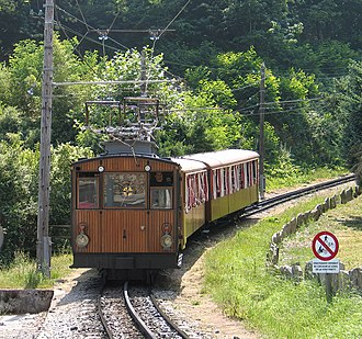 Three-phase AC railway electrification - Train using a multiphase electrification system on the Petit train de la Rhune, France