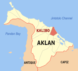 Map of Aklan with Kalibo highlighted
