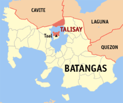 Map of Batangas showing the location of Talisay.