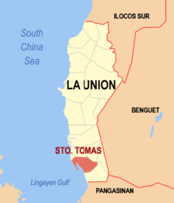 Map of La Union showing the location of Santo Tomas